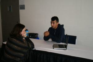Ravi with an educator from Waterloo